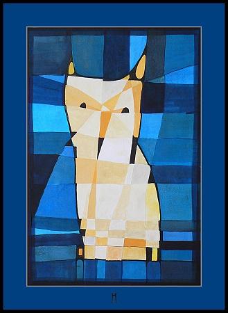 Owl,akvarel,44x30cm,06
