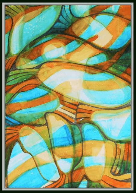 Ryby a plávajúci Jozo[Fisch and swiming Jozef]akvarel,100x70cm,02