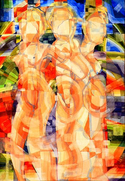 The three graces,watercolour paint 42x60cm 08